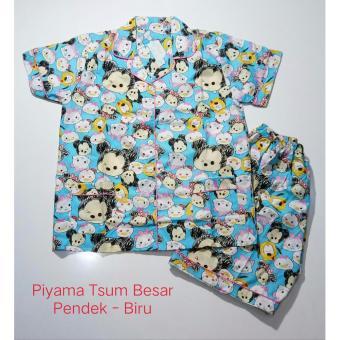 Fortune Fashion Piyama Tsum Besar Pendek - Biru