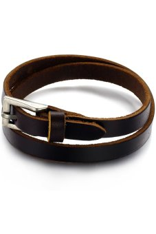 Harga Olen Double Layer Leather Bangle Brown