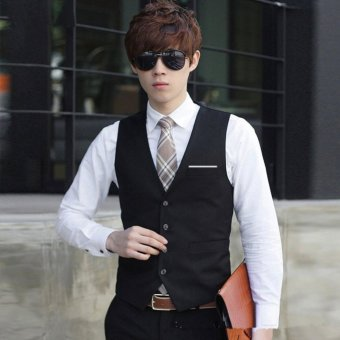 Gambar Produk Hequ V Collar Men's Business Fashion Suit Vest Waistcoats (Black) - intl Selengkapnya