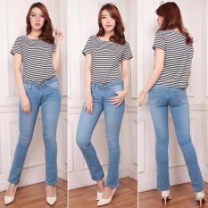 INN - Celana Jeans Wanita Kaki Standar Bahan Soft Jeans Repeat - Bahan Bagus Murah Jahitan Rapi - Resleting Kuat - Telor Asin