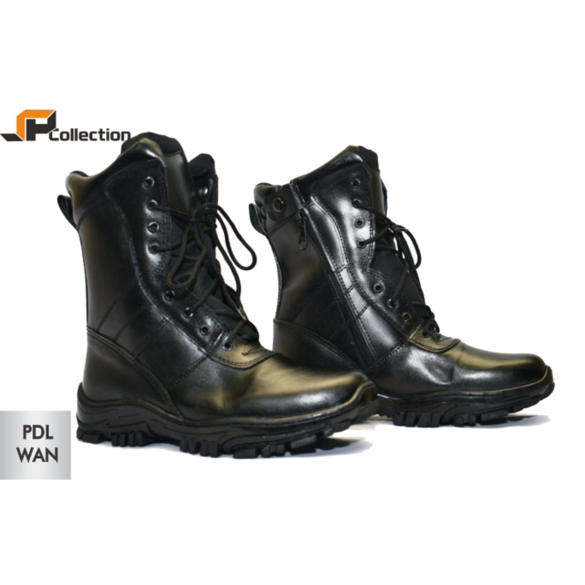... JAFERI Sepatu Boots PDL Wan Warna Hitam Bahan Kulit Sapi Asli Cocok  Untuk Touring a01ac49ce8