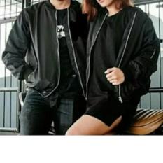 Jaket bomber couple-Sepasang-Black-Hitam