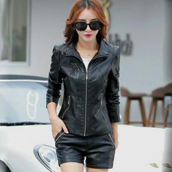 jaket kulit wanita simpel black