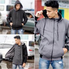Jaket Parasut Bolak Balik Dark Gray - Black