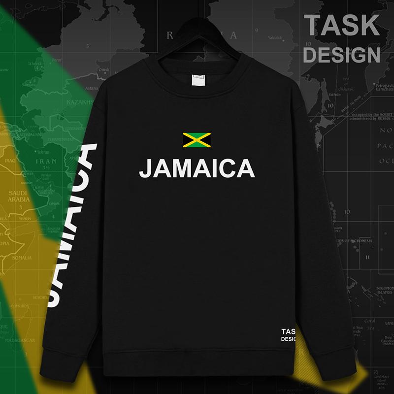 Jamaica ditambah beludru pria berkerudung pullover pecinta sweater (Leher bulat hitam)