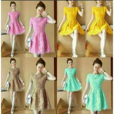 J&C Dress Wanita Brukat / Dress Lengan Pendek / Dress Formal / Dress Pesta