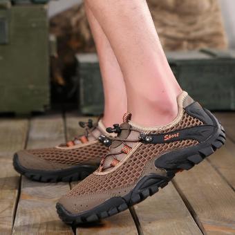 Jarma sepatu Hiking pria sepatu olahraga pria Travel buatan tangan  (coklat) -0 intl