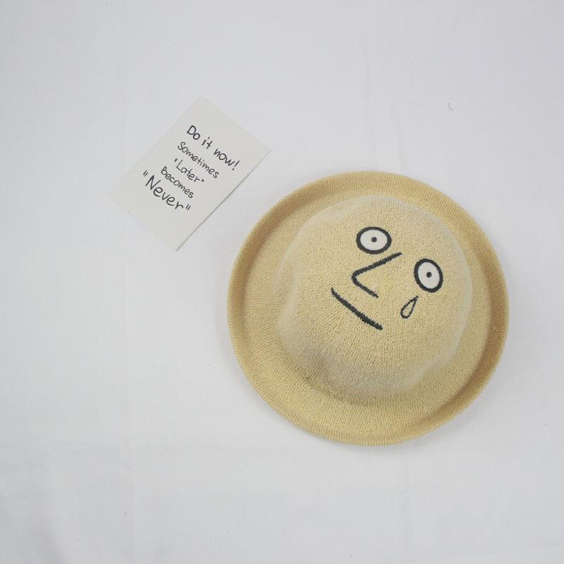 Jazz curling anyaman topi jerami kubah (Menangis Wajah bowler hat-Khaki)