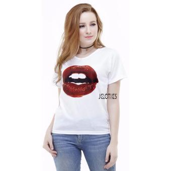 Detail Gambar Produk JCLOTHES Kaos Cewe / Tumblr Tee / Kaos Wanita Lips - Putih Terbaru