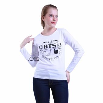 Jual JCLOTHES Tumblr Tee Kaos Cewe Kaos Lengan Panjang Wanita BTS Putih online murah berkualitas. Review Diskon.