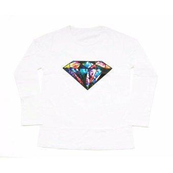 JCLOTHES Tumblr Tee Kaos Cewe Kaos Lengan Panjang Wanita Diamond Putih 3 .