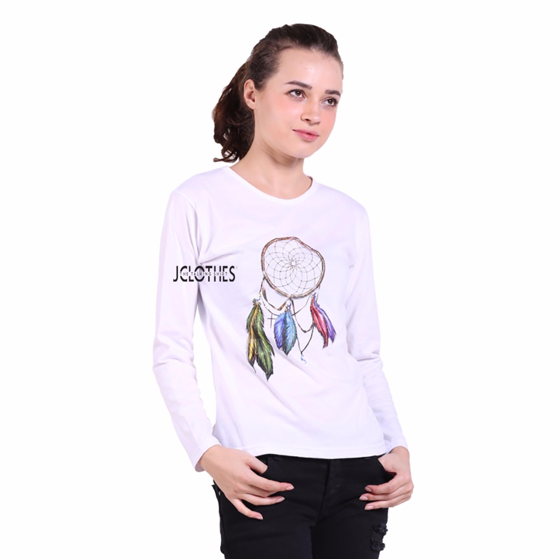 JCLOTHES Tumblr Tee / Kaos Cewe / Kaos Lengan Panjang Wanita Dream Catcher - Putih .