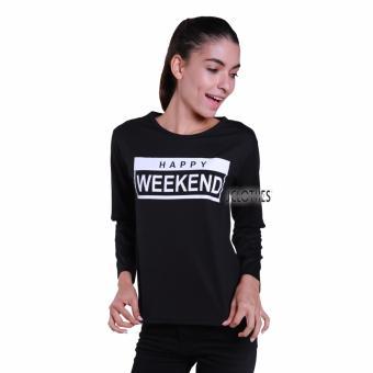 Jual JCLOTHES Tumblr Tee Kaos Cewe Kaos Lengan Panjang Wanita Happy Weekend Hitam online murah berkualitas. Review Diskon.