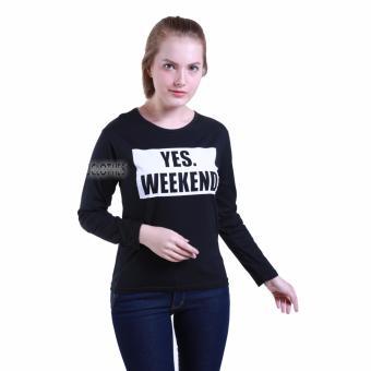 JCLOTHES Tumblr Tee Kaos Cewe Kaos Lengan Panjang Wanita Yes Weekend Hitam