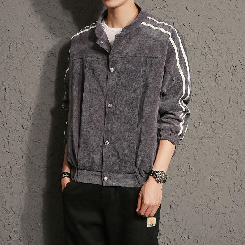 Jepang pria Slim stand-up kerah pria jaket pria jaket (Abu-abu)