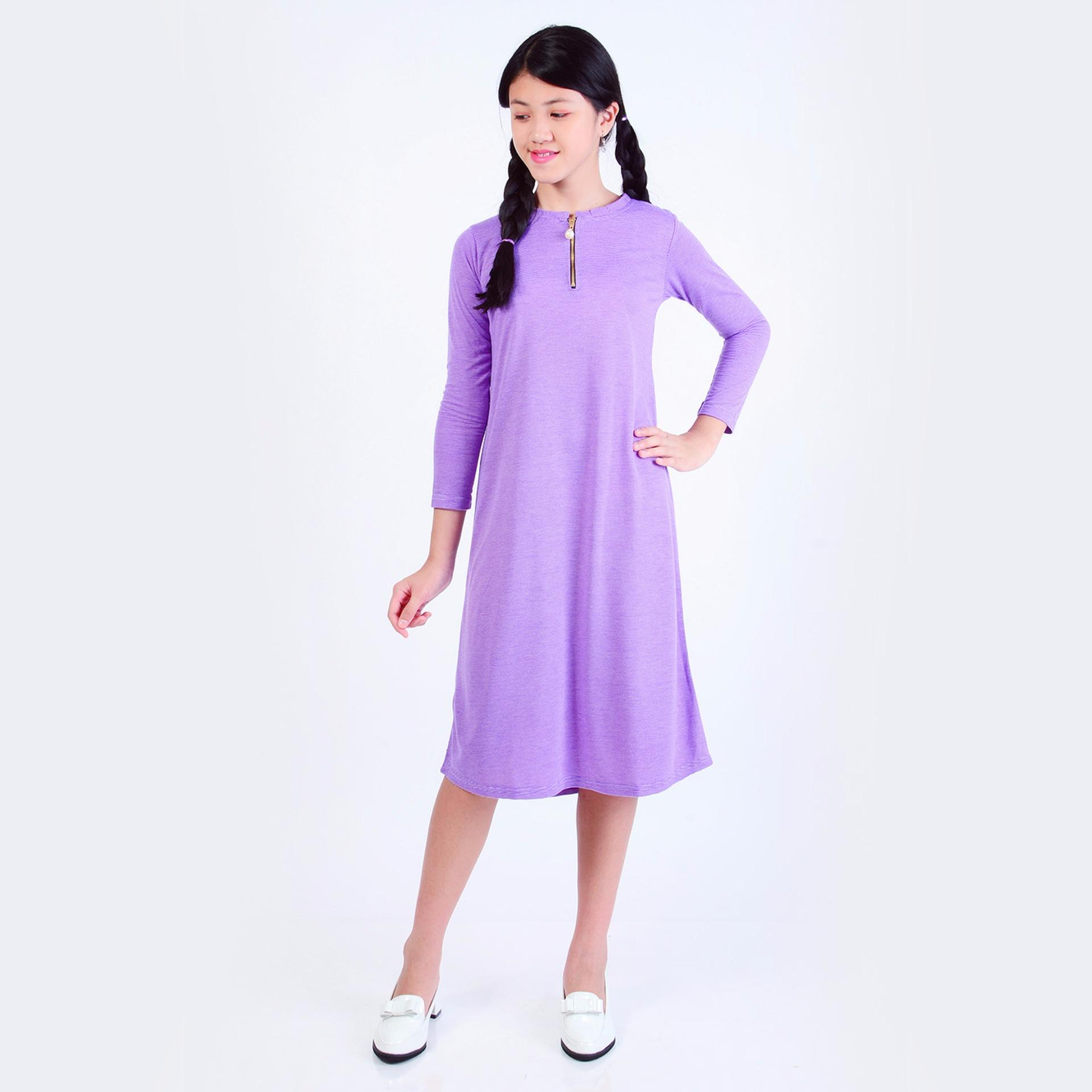 Jfashion Dress Anak variasi seleting tangan Panjang - Aurelteen Ungu