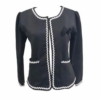 Jfashion Korean Style Women Blazer With Lace Long SLeeve - Eve Hitam - 2