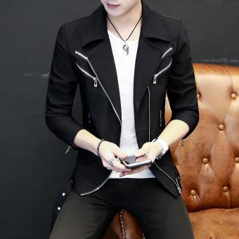 Gambar Jjz Jaket Kasual Pria Lengan Panjang Serat Rayon Kerah Lapel Gaya  Korea (Hitam) f83af4bb8b