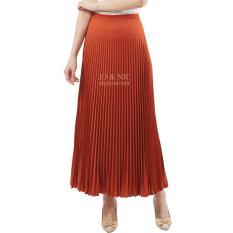 JO & NIC Pleated Long Skirts - Rok Panjang Lipit Fit to XL - Orange