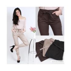 JOGGER PANTS COTTON STRETCH FOR LADIES (celana jogger katun wanita) - GREY