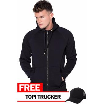 Just Cloth Jaket Zipper Polos Hitam + Free Topi Trucker Hitam