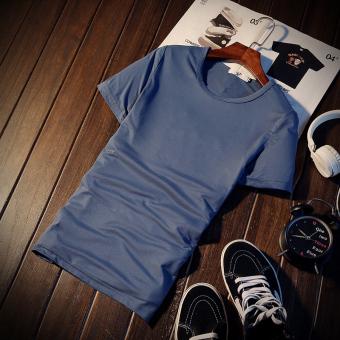Jvr Kaos Pria Lengan Pendek Bahan Polyester Kerah Bulat Gaya Korea Warna Hitam/Putih (