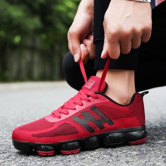 Kain kasual jala pria sepatu jala sepatu sepatu lari (Merah)