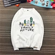 Kaktus Korea sweater (Family leher bulat putih Musim Semi dan Gugur ayat)