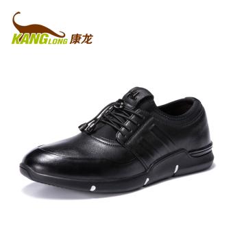 Jual Kang Long kulit pria baru bernapas sepatu olahraga sepatu pria (Hitam  271352049) Murah f8c4f554fb