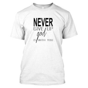 Abu WIKIHARGA Source Kaos Distro Naydayna T shirt Never Give Up Putih