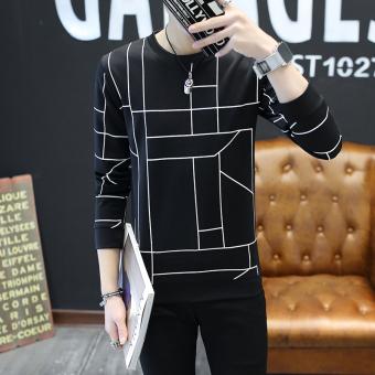 ... Baju Kaos Pria Source · Diskon Penjualan Kaos Luar Pria Lengan Panjang Kerah Bulat Bergaris Versi Korea Kotak hitam