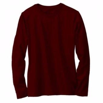 Kaos Polos Oneck Lengan Panjang Cotton Combed Merah Maroon Unisex