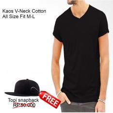 Kaos Polos T-Shirt Pria/Wanita Cotton Free Topi Snapback Head Hitam