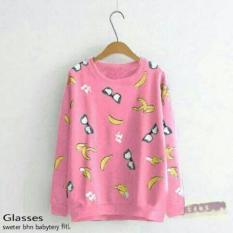 Kaos Sweater Glasses Banana Pink Atasan Wanita Baju Cwe