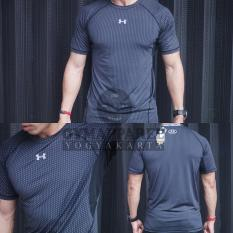 kaos tshirt manset baselayer under armour printing Compression(black) gym  run sepeda tennis training 994e2ea57f