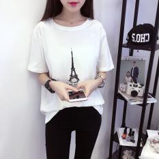 Kaos Wanita Lengan Pendek Kerah Bulat Model Longgar (661 (putih))