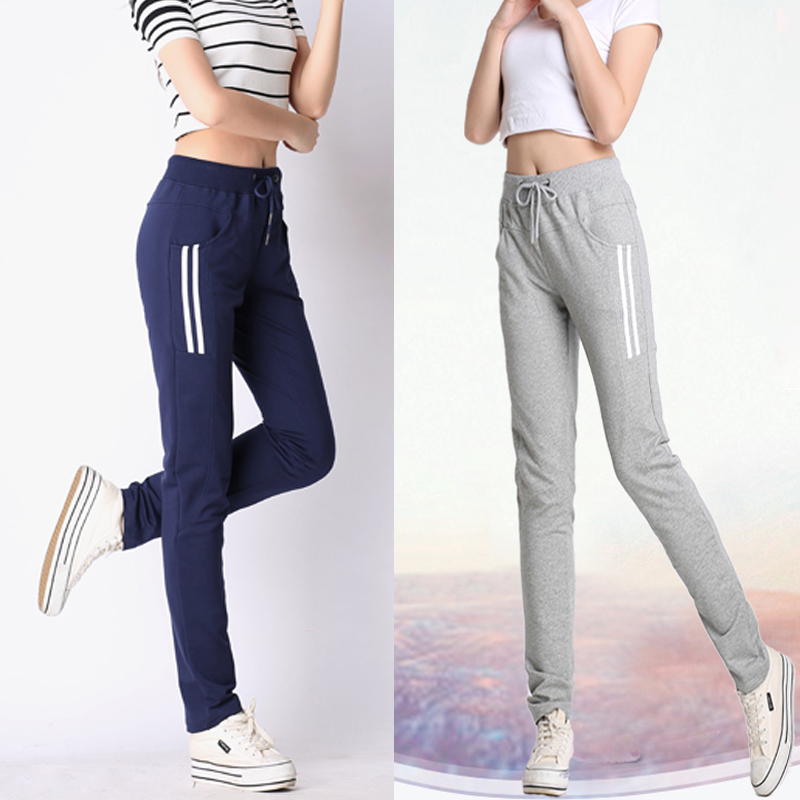 Kapas perempuan celana kaki celana Musim Semi dan Gugur olahraga (Abu-abu gelap)