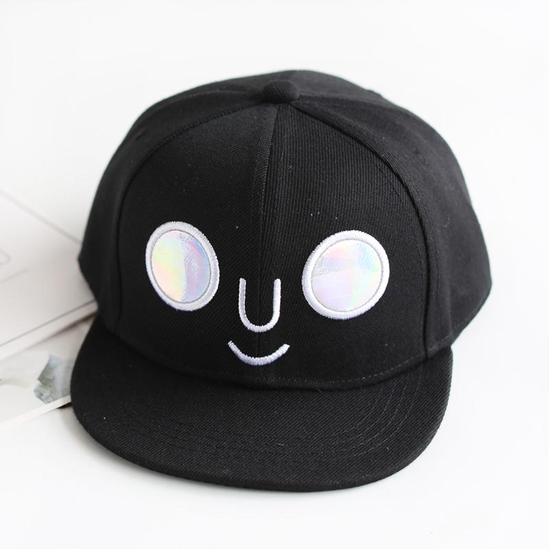 Flash Sale Kartun musim semi dan musim panas matahari hip-hop topi topi bisbol topi topi (Mata bulat wajah tersenyum-hitam)