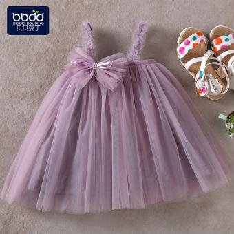 Belanja murah Kasa gadis kecil berpakaian gadis gaun gadis gaun Baobao putri rok (Abu-