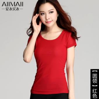 Anggaran Terbaik Kasa perempuan musim panas yard besar t-shirt bottoming kemeja (Merah)