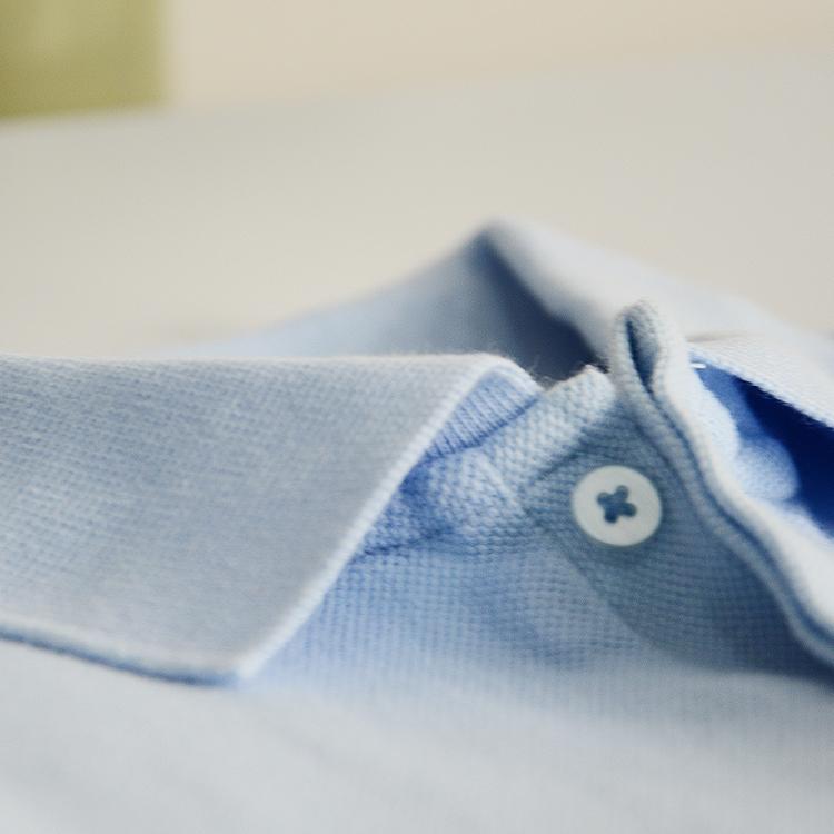 Kasual bisnis katun model dasar POLO kemeja kerah lengan pendek t-shirt (Cahaya biru