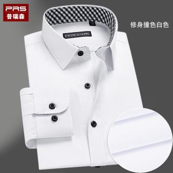 Online murah Kasual ditambah beludru putih murni kemeja pria yang hangat baju kemeja (Warna hit