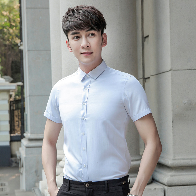 Kasual Slim muda bisnis profesional kemeja putih lengan pendek kemeja (Cahaya biru)
