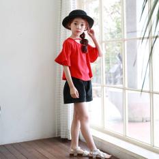 Katun leher bulat tanduk lengan longgar blus merah anak perempuan lengan pendek t-shirt (