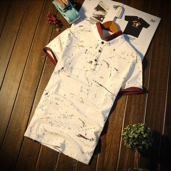 Katun pria pria kemeja lengan pendek lengan pendek t-shirt (Penuh dicetak kerah merah putih) baju atasan kaos pria kemeja pria