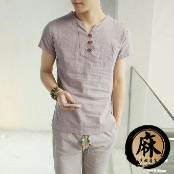 Gambar Katun warna solid musim panas v neck t shirt (Abu abu) (Abu