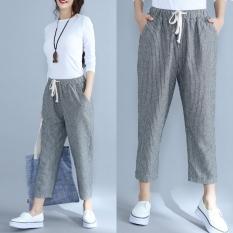 Katun yang longgar adalah garis-garis tipis celana kasual yard besar celana (Garis-