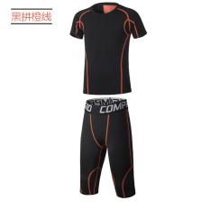 Kebugaran Basket Cepat Kering Lengan Pendek Berjalan Celana Stretch Legging Pakaian (6050 + T053 hitam