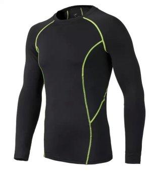 Harga Kebugaran berjalan celana training kompresi Legging pakaian (Hitam dengan hijau lengan panjang) Ori