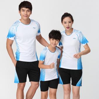 Kebugaran kasual anak-anak untuk pria dan wanita bulu tangkis pakaian pakaian tenis meja (Putih)